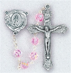 "Polish Art Center - 19"" 6mm Light Rose Tin Cut Multi-Faceted Crystal Beads with Aurora Borealis  with Deluxe Silver Oxidized Crucifix and Center. It comes with a Deluxe Velvet Box"