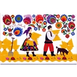 A Polish paper cut scene of a farmer and his wife working in the fields from the Lowicz region.  This magnet is about the size of a business card, is non-flexible with a strong magnet.