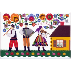 A Polish paper cut scene of a typical folk band from the Lowicz region. This magnet is about the size of a business card, is non-flexible with a strong magnet.