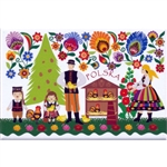 A Polish paper cut scene of a family at Christmas gathered round the hen house from the Lowicz region. This magnet is about the size of a business card, is non-flexible with a strong magnet.