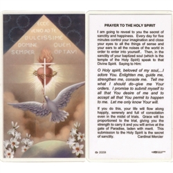 Prayer to the Holy Spirit - Holy Card.  Plastic Coated. Picture is on the front, text is on the back of the card.