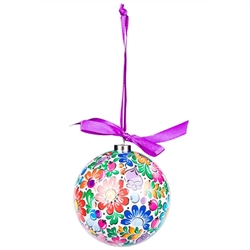 Folk art is the perfect souvenir from Poland. This ornament set is inspired by the flower designs of the Opole region of Silesia in Poland. Lightweight, unbreakable plastic with a decorative Opole floral pattern. Each ornament comes with a purple ribbon