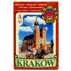 Beautiful deck of 55 playing cards made in Krakow, Poland on professional card stock paper and plastic coated.  Features scenes of Poland each described in 6 languages, Polish, English, German, French, Russian and Itialian.