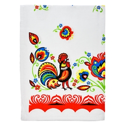 "Beautiful Polish paper cut design from the Lowicz area of central Poland. 100% cotton and made in Poland. Size is approx 24.5"" x 18"". Select from grey, red, green or blue borders."