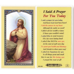 Polish Art Center - I Said a Prayer For You Today - Holy Card.  Plastic Coated. Picture and prayer is on the front, text is on the back of the card.