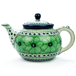 "Beautiful teapot with a 1.2 Liter (40oz) capacity (5 cups). Pattern designed by Jacek Chyla. The artist has been connected with the Artistic Handicraft Cooperative ""Artistic Ceramics and Pottery"" since 1986. Since 1994 he has been a pattern designer."