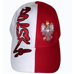Stylish red and white cap with an embroidered Polish Eagle. Features an adjustable cloth and metal tab in the back. Designed to fit most people.