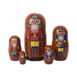 Here are five depictions of nutcrackers, varying in size and style. This nutcracker nesting doll ties in with Tchaikovsky's ballet, Hoffman's story, and would make a nice nutcracker gift, Germanic gift, or Russian gift for the nutcracker collector, matryo