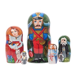 Just as in America and Germany, Russia cherishes the Nutcracker Ballet. Clara's beloved Nutcracker Prince bravely stands guard over this festive nesting doll, based on the Tchaikovsky ballet and Hoffman's fairy tale. The outermost doll features the Nutcra