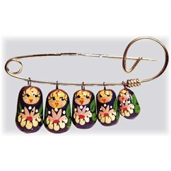 Here's a true classic of Russian folk art. Five colorful maidens dangle from this popular pin. Fun and whimsical, it's a folksy addition to any get up--at a bargain price. Add cheer to any coat or sweater by pinning on this family of Russian ladies. Let