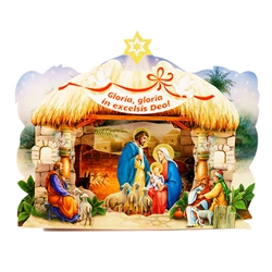 In Polish homes the szopka (creche) is a central part of the Christmas season. This is a medium pop-up thick glossy paper szopka with the Holy Family in Bethlehem. Perfect for displaying on a mantle, a tabletop or under the tree.