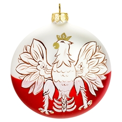 "Celebrate your unique heritage with this distinctive ornament depicting Poland's national symbol. Artfully hand painted by skilled glass artisans in Poland, our distinctive 3.5"" diameter ornament features a stylized white eagle with golden crown, beak and"