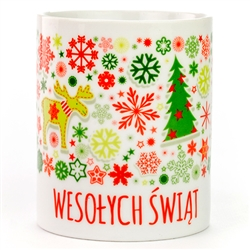 This attractive Christmas ceramic mug with Happy Holidays in Polish. Hand wash only.