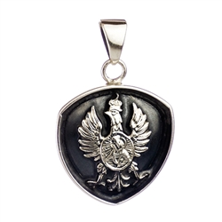 Hand made in the workshop of Warsaw's finest engraver and medal maker. With ring for chain mounting.  Centered in the eagle is Our Lady Of Ostrobramska - Matka Boska Ostrobramska  Metal