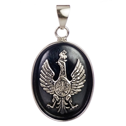 "Hand made in Poland. Size is approx 1.75"" x 1"". Centered in the Eagle is Our Lady Of Czestochowa.  Sterling silver."