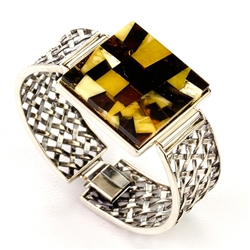 "Fits wrists size 2,25"" x 1.75"". Amber mosaic size is 1.25"" x 1.25"". Set in sterling silver.  Weight 36.6g."