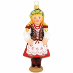 Celebrate the spirited culture of Poland with this beautiful glass keepsake! Our Polish Krakow dancer glass ornament depicts a girl with long blond braids wearing a traditional red costume overlaid with a white apron. Skillfully crafted of glass in Poland