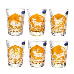 Stunning set of 6 Polish hand-cut and engraved double shot crystal glasses depicting outdoor wild life scenes. The scenes include: deer, elk, moose, turkey, pheasant and boar in the wild.