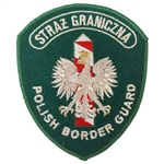 "Genuine Polish Border Guard shoulder patch. Sew on patch. Size approx 4"" x 3.75"". Made In Poland."