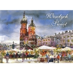 A beautiful glossy Christmas card featuring the St Mary's Church in Krakow surrounded by market stands in the old town square. Blank inside.
