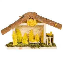 "11 piece set of pure Polish beeswax figures set in a wooden nativity and nestled in a soft bed of dried moss. Create your own Nativity scene! Makes a great Christmas present. Hand made in Poland.  Size is approx 9"" tall x 15"" long x 4"" wide."