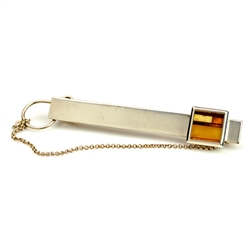 Sterling Silver Tie Bar with a mosaic of amber.