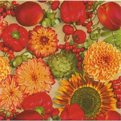 Celebrate the Autumn season with these beautiful napkins. These original designs will make any table festive.  Three ply napkins with water based paints used in the printing process.