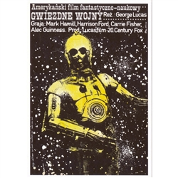 "Star Wars C3PO, Movie Promotion Poster designed by Jakob Erol  in 1978-2015 . It has now been turned into a post card size 4.75"" x 6.75"" - 12cm x 17cm.