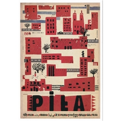 "Polish poster designed by artist Ryszard Kaja to promote tourism to Poland.  It has now been turned into a post card size 4.75"" x 6.75"" - 12cm x 17cm."
