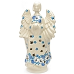 Collectors of Polish stoneware from Poland's premier company, Ceramika Artystyczna, will enjoy this unique item. Each of the stars on the angel is cut out to allow light and heat out.   Each angel is hand painted and unique so some variations in this