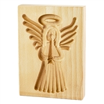 Solid beech wood hand carved mold featuring an angel folk design. This mold comes from the gingerbread museum in Torun, Poland. These types of wooden molds are used to create gingerbread and cookie designs.