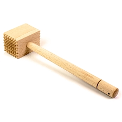 This is an old fashioned wooden meat tenderizer.  This is what grandma used to beat the chops and steaks into tender fillets.