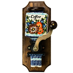 Charming Polish Stoneware Coffee Grinder, a great kitchen accessory to accent your Stoneware collection. Crank turns, gears work, however this is meant to be decorative rather than functional. Includes removable wooden top and stoneware coffee grounds
