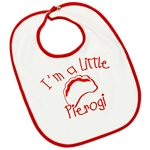 Great cotton bib with a rubberized back and metal snaps in Polish colors, read and white