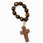 Polish Wooden Finger Rosary features 10 beads on a string ring.  Made in Poland.