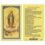 Polish Art Center - Golden Hail Mary - Holy Card.  Plastic Coated. Picture and prayer is on the front, text is on the back of the card.