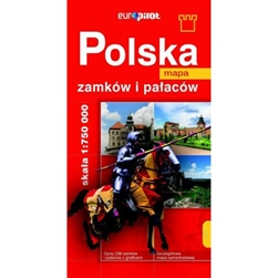Large folding road map featuring the location of 238 castles/palaces remaining in Poland today. The reverse side describes (in Polish) a short history of each site and a color illustration.  Polish text only.