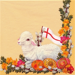 Celebrate the Easter season with these beautiful napkins. These original designs will make any table festive with their beautiful eggs, lilies, Paschal Lamb and resurrection flag.  Three ply napkins with water based paints used in the printing process