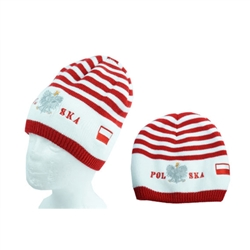 Display your Polish heritage! with this read and whote stretch ribbed-knit skull cap with the word Polska (Poland) and the Polish Eagle. Easy care acrylic fabric. Once size fits most. Imported from Poland.