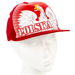 Stylish red cap with silver and white thread embroidery. The cap features a silver Polish Eagle with gold crown and talons. Features an adjustable cloth and metal tab in the back. Designed to fit most people.