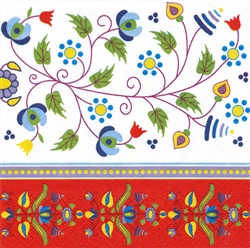 Colorful Kashubian floral design.  Three ply napkins with water based paints used in the printing process