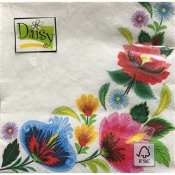 Floral folk design from the Lowicz region of central Poland. Three ply napkins with water based paints used in the printing process