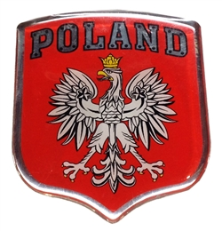 "Raised pliable sticker. Size approx 3"" x 2.5"". Made In Poland."
