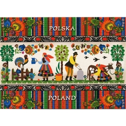This beautiful note card features a scene from a Polish farm. The scene is framed in colorful paper cut flowers from the Lowicz region of Poland. The mailing envelope features flowers in both the foreground and background. Spectacular!