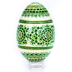 This beautifully designed goose egg is hand painted by master folk artist Krystyna Szkilnik from Opole, Poland. The painting is done in the traditional style from Opole. Signed and dated (2017) by the artist. Eggs are blown and can last for generations.