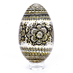 This beautifully designed goose egg is hand painted by master folk artist Krystyna Szkilnik from Opole, Poland. The painting is done in the traditional style from Opole. Signed and dated (2017) by the artist  Eggs are blown and can last for generations.
