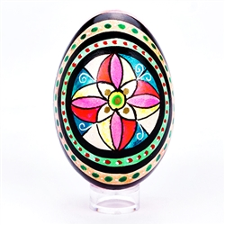 Colorful hand painted design made in Poland. Each side has a unique yet complementary design. Stand sold separately.