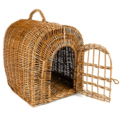"Small animal carrier made by hand of natural Polish wicker.  Interior size is approx. 11"" x 15"" x 12"" tall