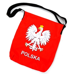 "Attractive tote bag featuring the Polish Eagle above Polska (Poland). Heavy duty polyester material, lined inside and adjustable strap. Bag size approx 12"" x 14"" not including the strap. Made In Poland."