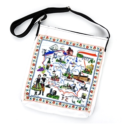 "Attractive tote bag featuring a map of Poland highlighting Poland's best known cities, attractions and folklore.  Heavy duty material, lined inside and adjustable strap.  Bag size approx 12"" x 14"" not including the strap.  Made In Poland."
